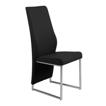 An Image of Crystal PU Dining Chair In Black With Chrome Legs