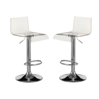 An Image of Baino White Acrylic Bar Stool In Pair With Chrome Base