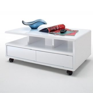 An Image of Wessex Coffee Table In White Gloss With 2 Drawers And 5 Rollers