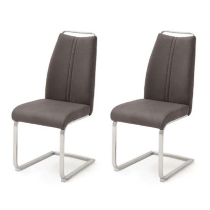 An Image of Giulia Brown Leather Cantilever Dining Chair In A Pair