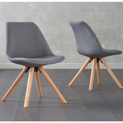 An Image of Tupa Dark Grey Fabric Chairs In Pair With Round Leg