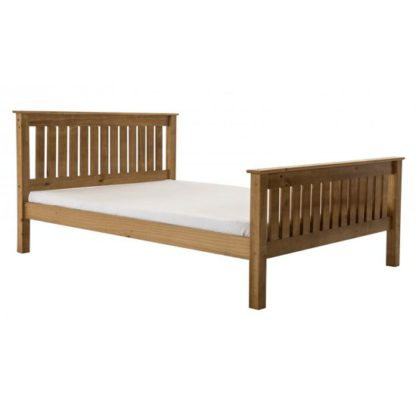 An Image of Manila High Footend Pine King Size Bed In Antique