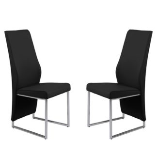 An Image of Crystal Black PU Dining Chairs In Pair With Chrome Legs