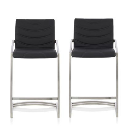 An Image of Darren Bar Stool In Black Faux Leather In A Pair