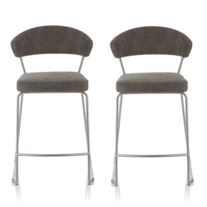 An Image of Adelina Retro Bar Stool In Grey Faux Leather In A Pair