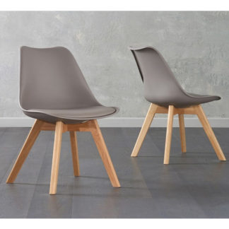An Image of Brachium Taupe Faux Leather Dining Chairs In Pair