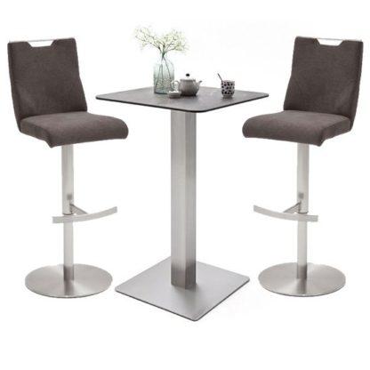 An Image of Soho Glass Bar Table With 2 Jiulia Brown Fabric Stools