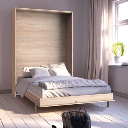 An Image of Juist Wooden Vertical Foldaway Double Bed In Planked Oak