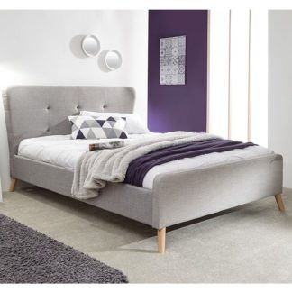 An Image of Carnaby Fabric Wing Double Bed In Light Grey