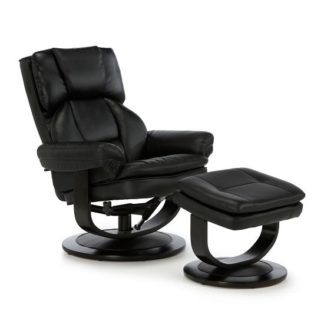 An Image of Cosimo Recliner Chair In Black Bonded Leather With Footstool