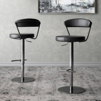 An Image of Gino Black Faux Leather Gas-lift Bar Stools In Pair