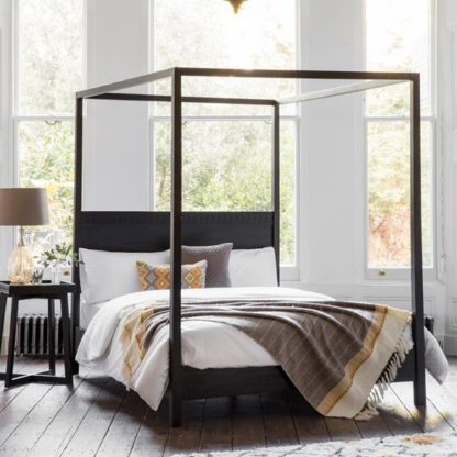 An Image of Boho Boutique Super King Size Bed In Matt Black Charcoal