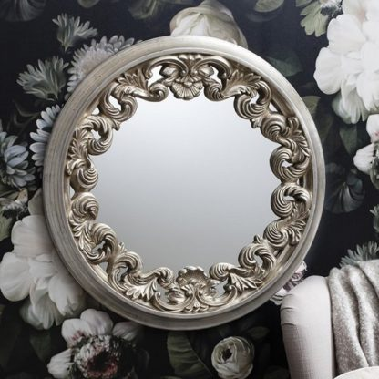 An Image of Anna Wall Mirror Round In Silver With Ornate Frame