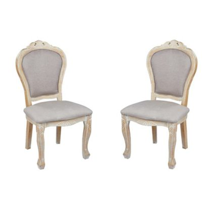 An Image of Senegal Weathered Oak Padded Dining Chairs In Pair