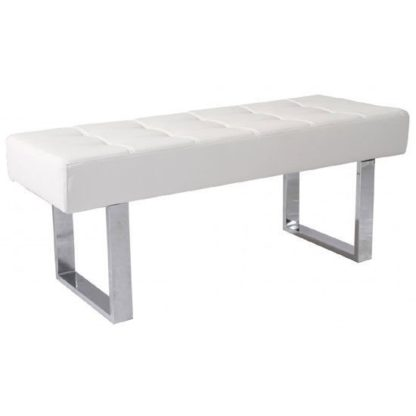 An Image of Austin Dining Bench In White Faux Leather With Chrome Base
