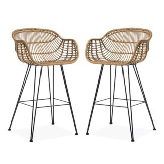 An Image of Rafferty Carver Wooden Bar Stool In Pair