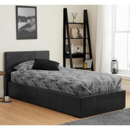 An Image of Berlin Fabric Ottoman Single Bed In Black