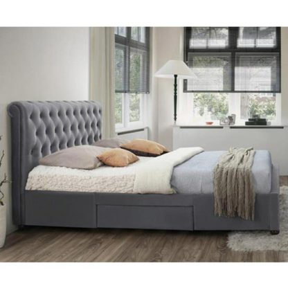 An Image of Marlow Fabric Storage Super King Bed In Grey Velvet