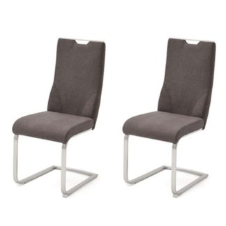 An Image of Jiulia Brown Fabric Cantilever Dining Chair In A Pair