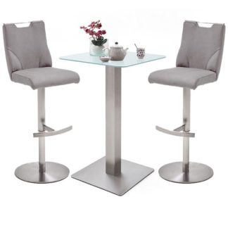 An Image of Soho White Glass Bar Table With 2 Jiulia Ice Grey Leather Stools