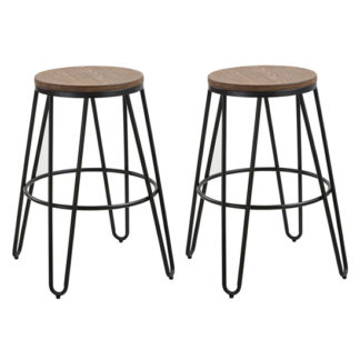 An Image of Ikon Black Metal Hairpin Leg Bar Stool In Pair With Wooden Seat