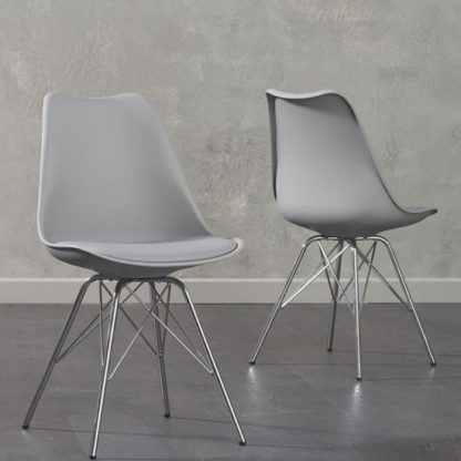An Image of Crater Light Grey Faux Leather Dining Chairs In Pair