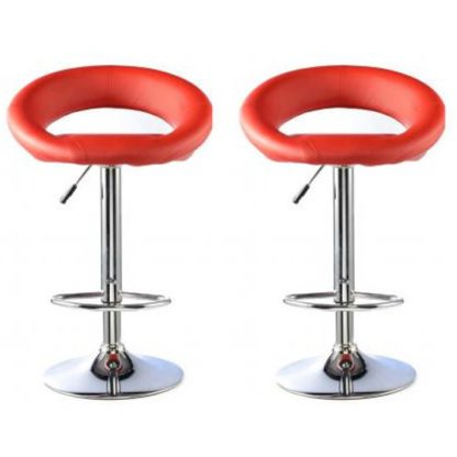 An Image of Murry Red Faux Leather Bar Stools In Pair With Chrome Base