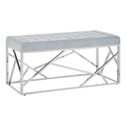 An Image of Alluras Powder Blue Velvet Bench With Silver Geomatric Base