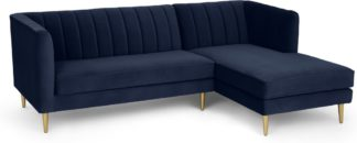 An Image of Amicie Right Hand Facing Chaise End Corner Sofa, Royal Blue Velvet