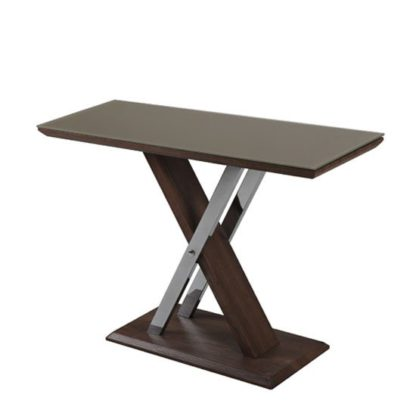 An Image of Cubic Console Table In Beige Glass Top With Walnut Base