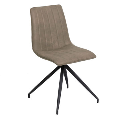 An Image of Isaac Faux Leather Dining Chair In Taupe