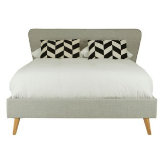 An Image of Parumleo Wooden King Size Bed In Light Grey
