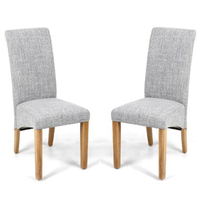 An Image of Karta Scroll Back Flax Effect Grey Weave Dining Chairs In Pair