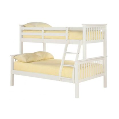 An Image of Trios Solid Off White Finish Triple Sleeper Bunk Bed