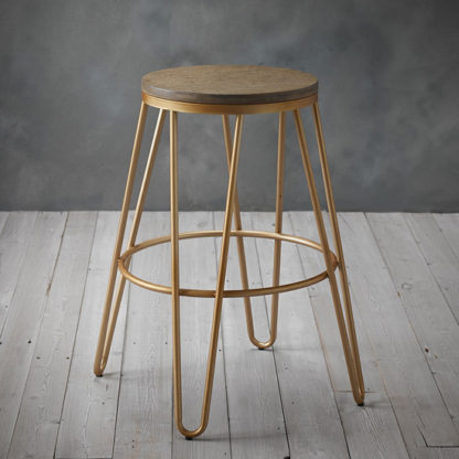 An Image of Ikon Gold Effect Hairpin Leg Bar Stool With Wooden Seat