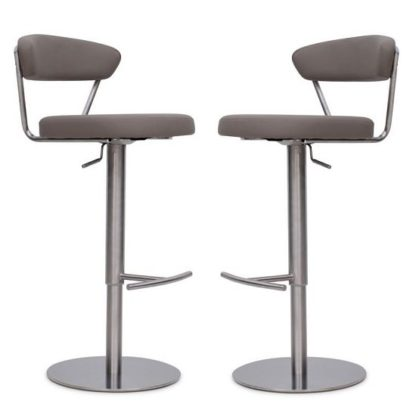 An Image of Astley Bar Stools In Taupe Faux Leather In A Pair