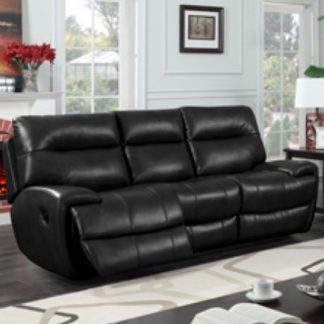 An Image of Orionis LeatherGel And PU Recliner 3 Seater Sofa In Black