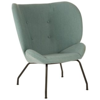 An Image of Giausar Metal Legs Chair In Green Fabric