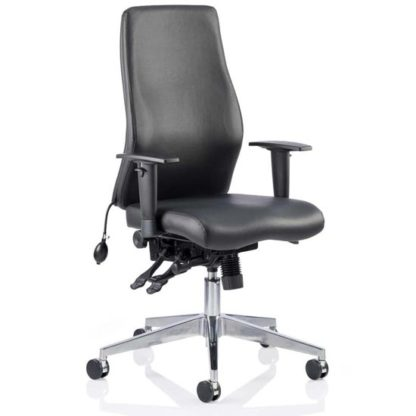 An Image of Onyx Ergo Leather Posture Office Chair In Black With Arms