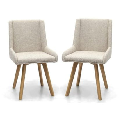 An Image of Skandi Natural Flax Effect Dining Chair In A Pair