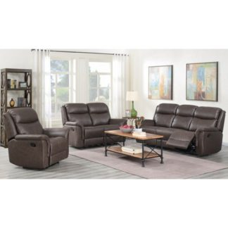 An Image of Proxima 3 Seater Sofa And 2 Armchairs Suite In Rustic Brown
