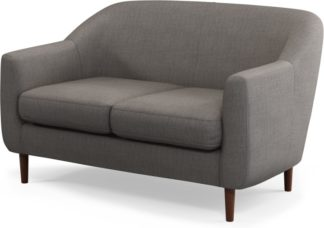 An Image of Custom MADE Tubby 2 Seater Sofa, Pewter Grey with Dark Wood Legs