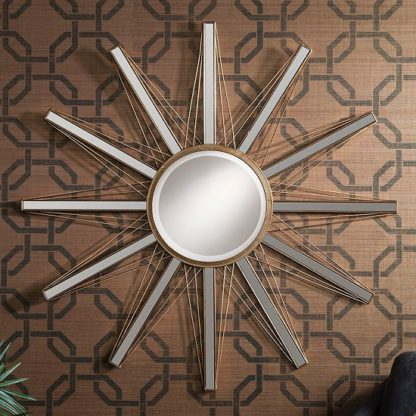 An Image of Roland Starburst Wall Mirror In Bright Gold With Mirrored Panels