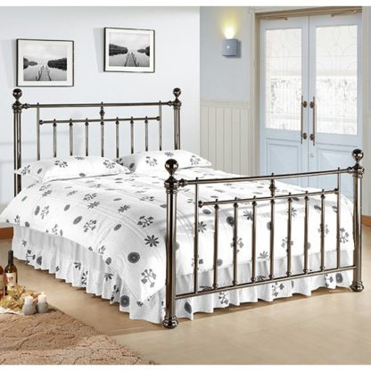 An Image of Alexander Black Metal King Size Bed With Nickel Finials