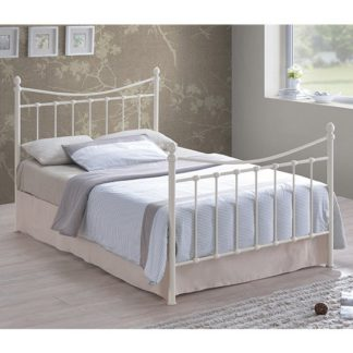 An Image of Alderley Metal Double Bed In Ivory