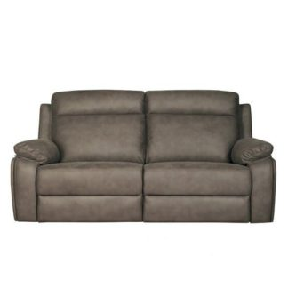 An Image of Denton Contemporary Fabric Recliner 3 Seater Sofa In Grey