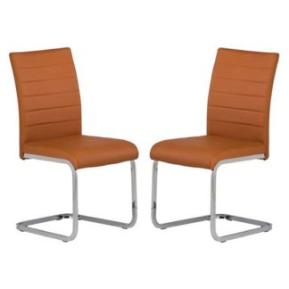 An Image of Pindall Dining Chair In Orange With Chrome Frame In A Pair