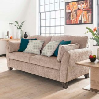 An Image of Barresi Chenille Fabric Three Seater Sofa In Almond Finish