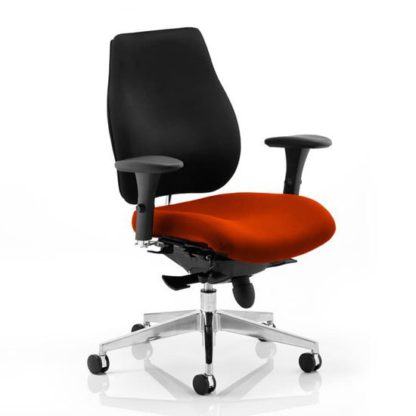 An Image of Chiro Plus Black Back Office Chair With Tabasco Red Seat