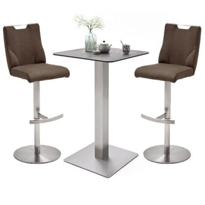 An Image of Soho Glass Bar Table With 2 Jiulia Brown Stools